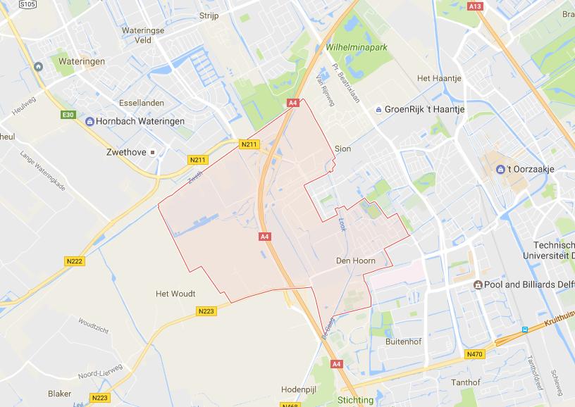 Rijlesgebied van Rijschool Adrian in Den Hoorn